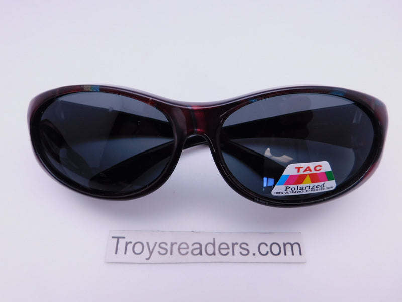 Colorful Fits-Over Sunglasses With Backspray in Four Designs Fit Over Sunglasses Red Swirl