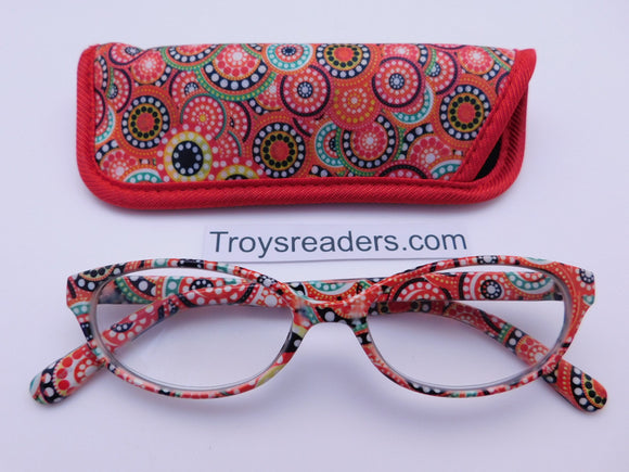 Colorful Retro Readers With Case in Five Colors Reader with Display Red +1.00