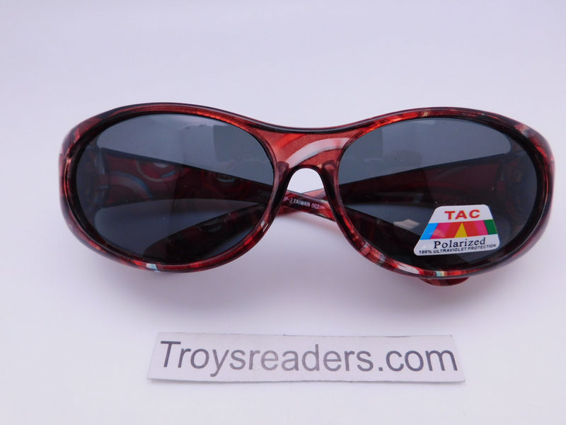 Colorful Translucent Fits-Over Sunglasses in Five Designs Fit Over Sunglasses Red Circles