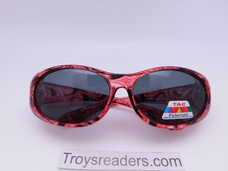 Colorful Translucent Fits-Over Sunglasses in Five Designs Fit Over Sunglasses Red Waves