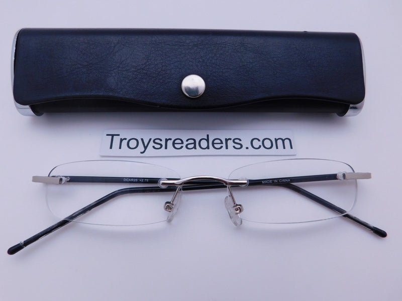 Double Color Rimless Aluminum Readers With Case in Five Colors Reader with Display Black +1.00