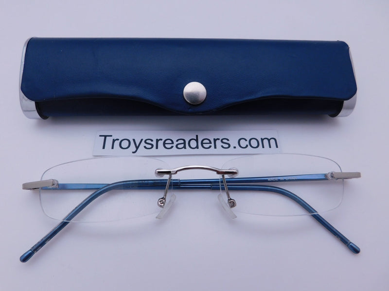 Double Color Rimless Aluminum Readers With Case in Five Colors Reader with Display Blue +1.00
