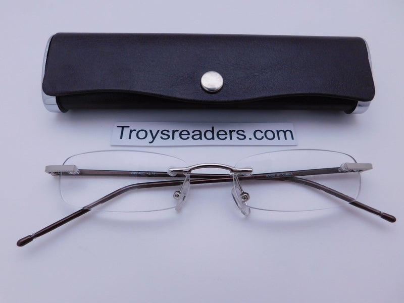 Double Color Rimless Aluminum Readers With Case in Five Colors Reader with Display Brown +1.00