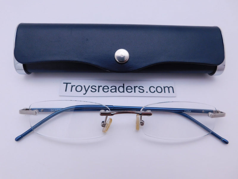 Double Color Rimless Aluminum Readers With Case in Five Colors Reader with Display Navy +1.00