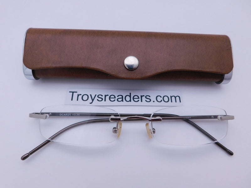 Double Color Rimless Aluminum Readers With Case in Five Colors Reader with Display Tan +1.00