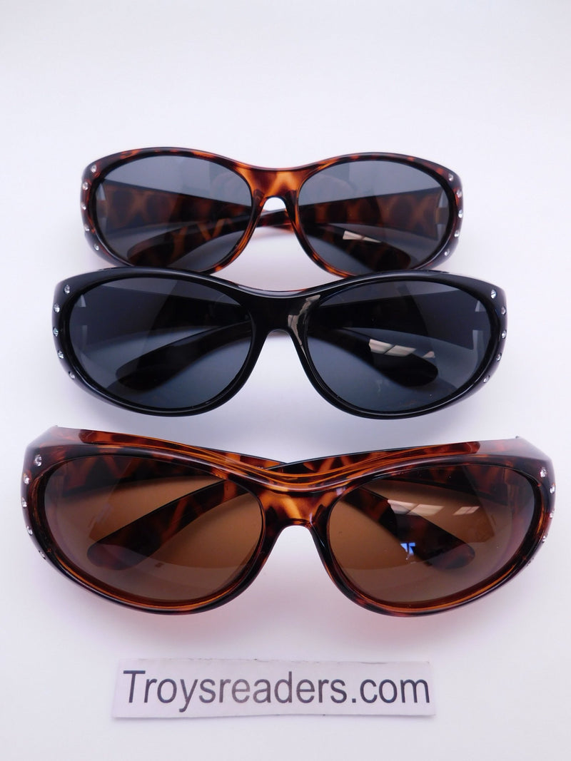 Double Temple Rhinestone Polarized Fit Overs in Three Variants Fit Over Sunglasses