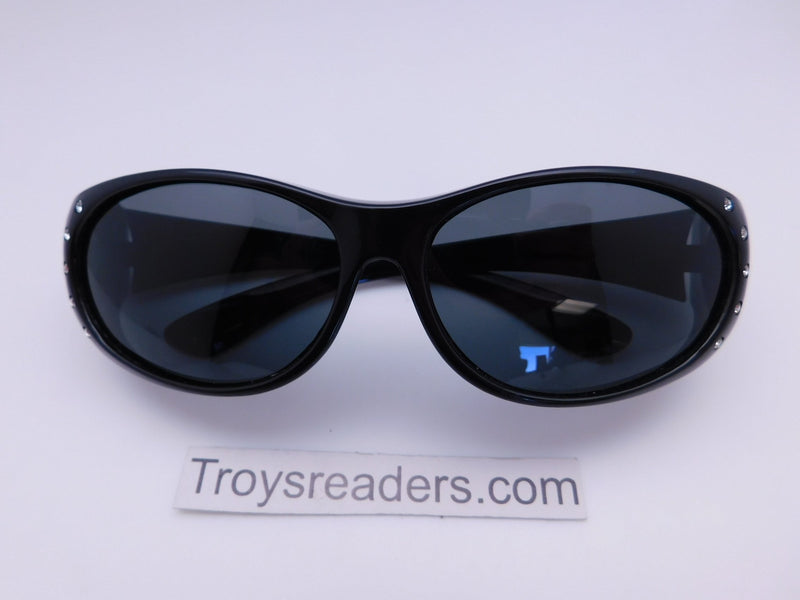 Double Temple Rhinestone Polarized Fit Overs in Three Variants Fit Over Sunglasses Black Smoke