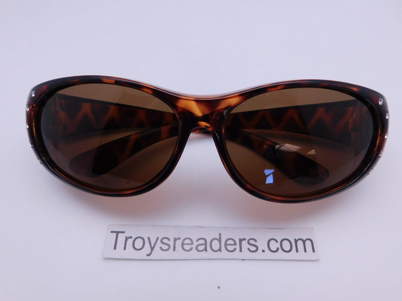 Double Temple Rhinestone Polarized Fit Overs in Three Variants Fit Over Sunglasses Tortoise Amber