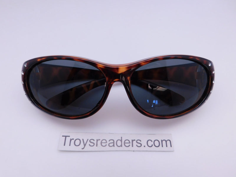 Double Temple Rhinestone Polarized Fit Overs in Three Variants Fit Over Sunglasses Tortoise Smoke