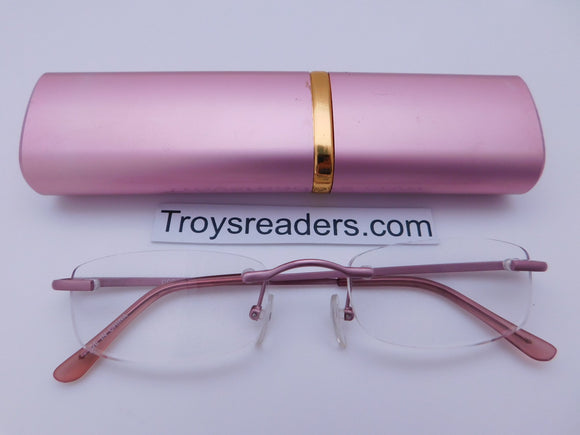 Easter Frameless Metal Tube Readers With Case in Six Colors Reader with Display Pink +1.50