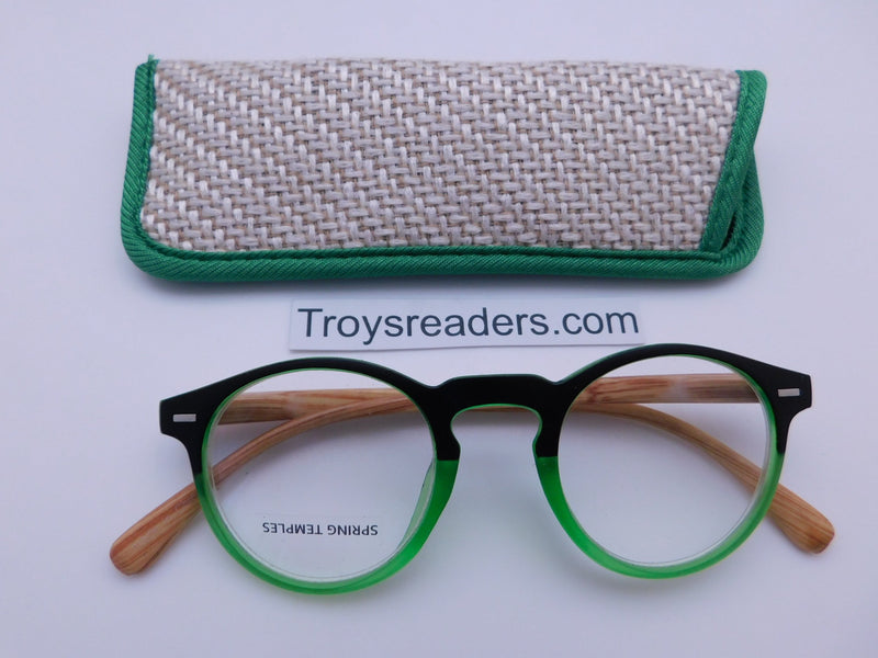 Eco-Earth Readers With Case in Four Colors Reader with Display Green +1.50