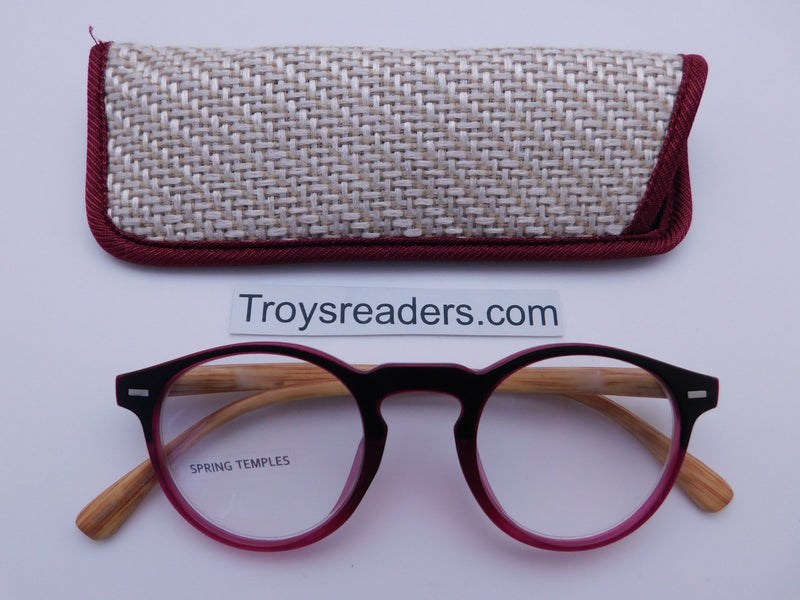 Eco-Earth Readers With Case in Four Colors Reader with Display Maroon +1.25