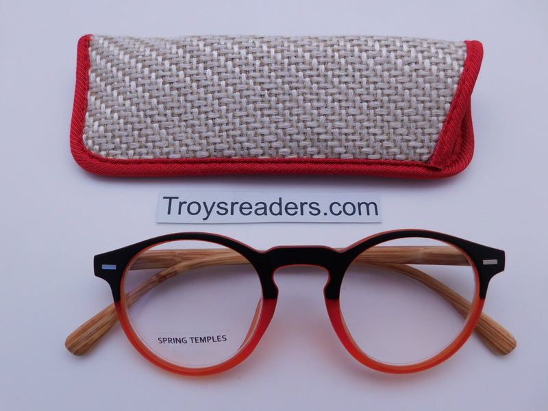 Eco-Earth Readers With Case in Four Colors Reader with Display Red/Orange +1.25