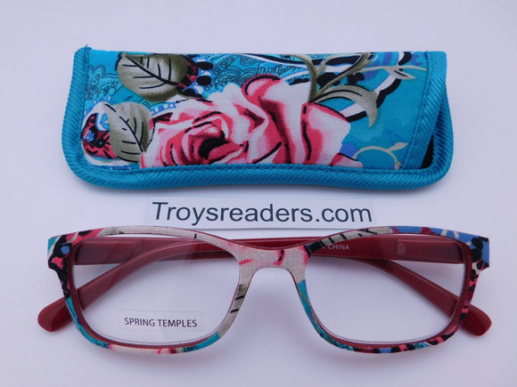 Fabric Readers With Case in Four Colors Reader with Display Teal +1.25