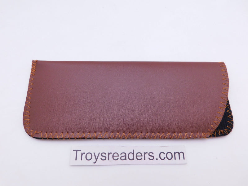 Faux Leather Glasses Sleeve Soft Case in Three Colors Cases Light Brown