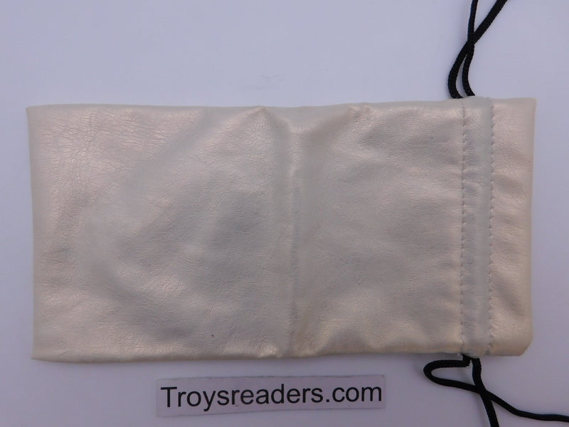 Faux Leather Pouch with String in Three Colors Cases White