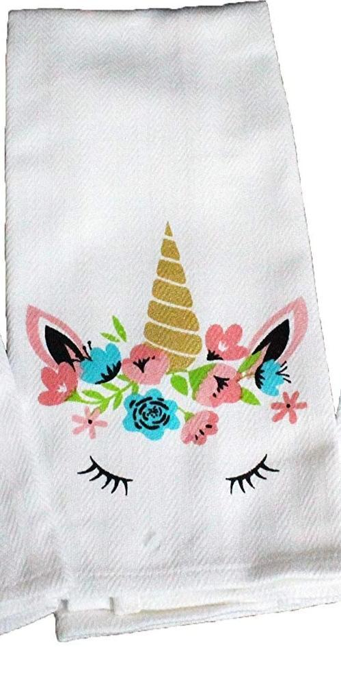 Flower Crown Unicorn Dish Towel Dish Towel