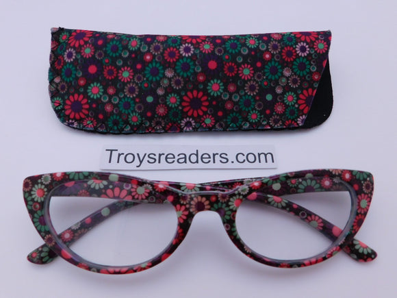 Flower Power Cateye Readers With Case in Four Colors Reader with Display Pink +1.50