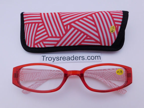 Geometric Design Readers With Case in Five Colors Reader with Display Red +1.00