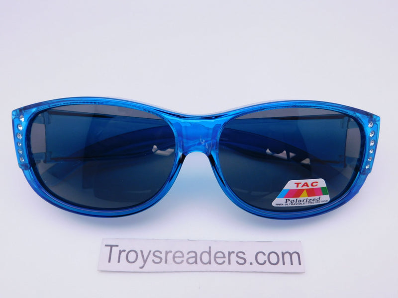 Glitz Colorful Transparent Fit Overs in Six Colors Fit Over Sunglasses Blue