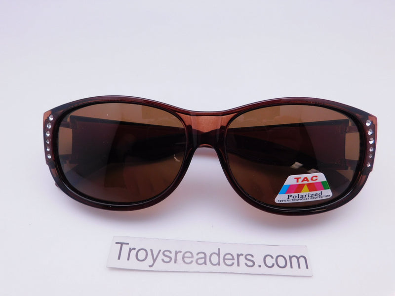Glitz Colorful Transparent Fit Overs in Six Colors Fit Over Sunglasses Brown