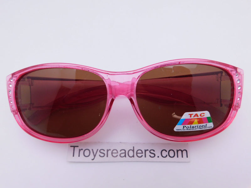 Glitz Colorful Transparent Fit Overs in Six Colors Fit Over Sunglasses Pink