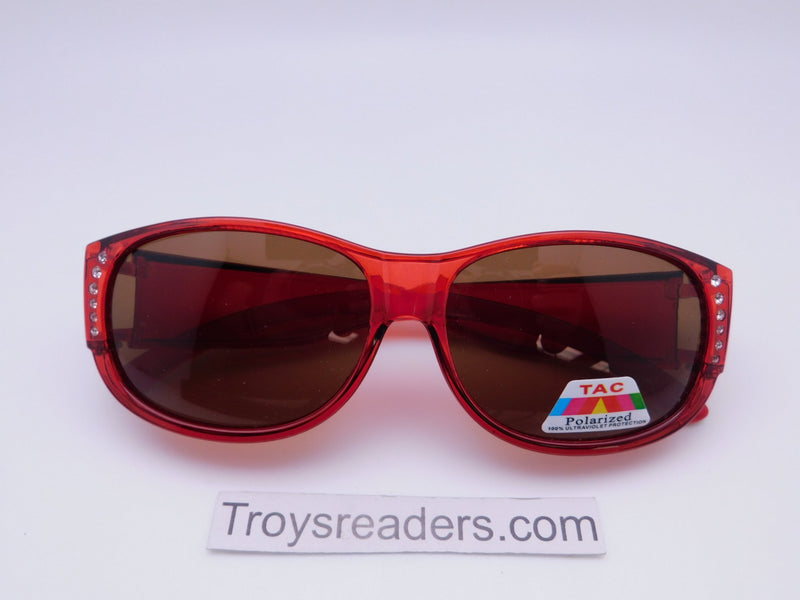 Glitz Colorful Transparent Fit Overs in Six Colors Fit Over Sunglasses Red