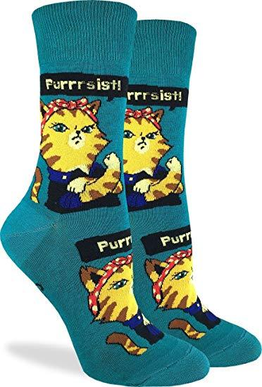 Good Luck Socks Women Crew Purrsist Cat Socks