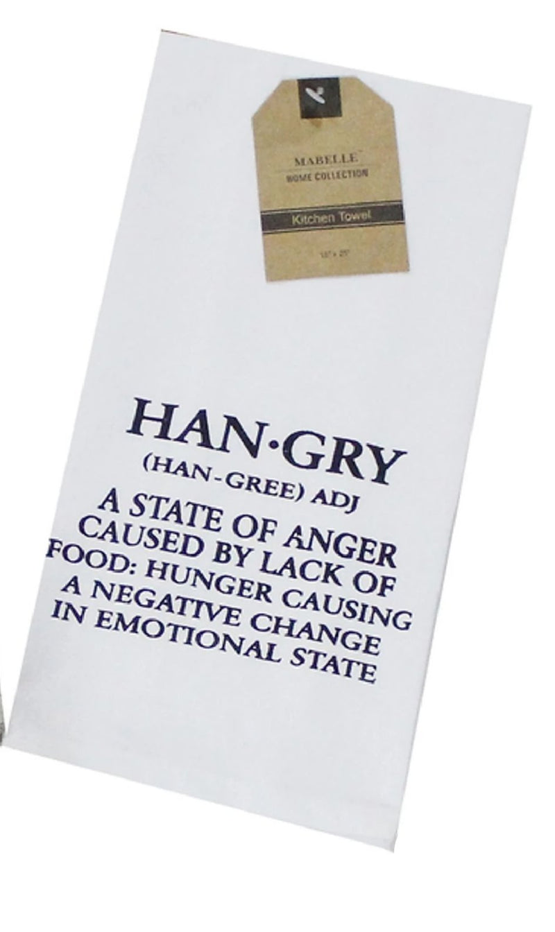 Hangry: A State Of Anger Caused By Lack Of Food. Dish Towel Dish Towel