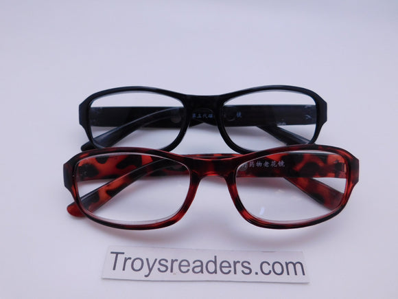High Power Rectangular Frame Reading Glasses in Two Colors