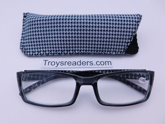 Houndstooth Readers With Case in Four Colors Reader with Display Black +1.00