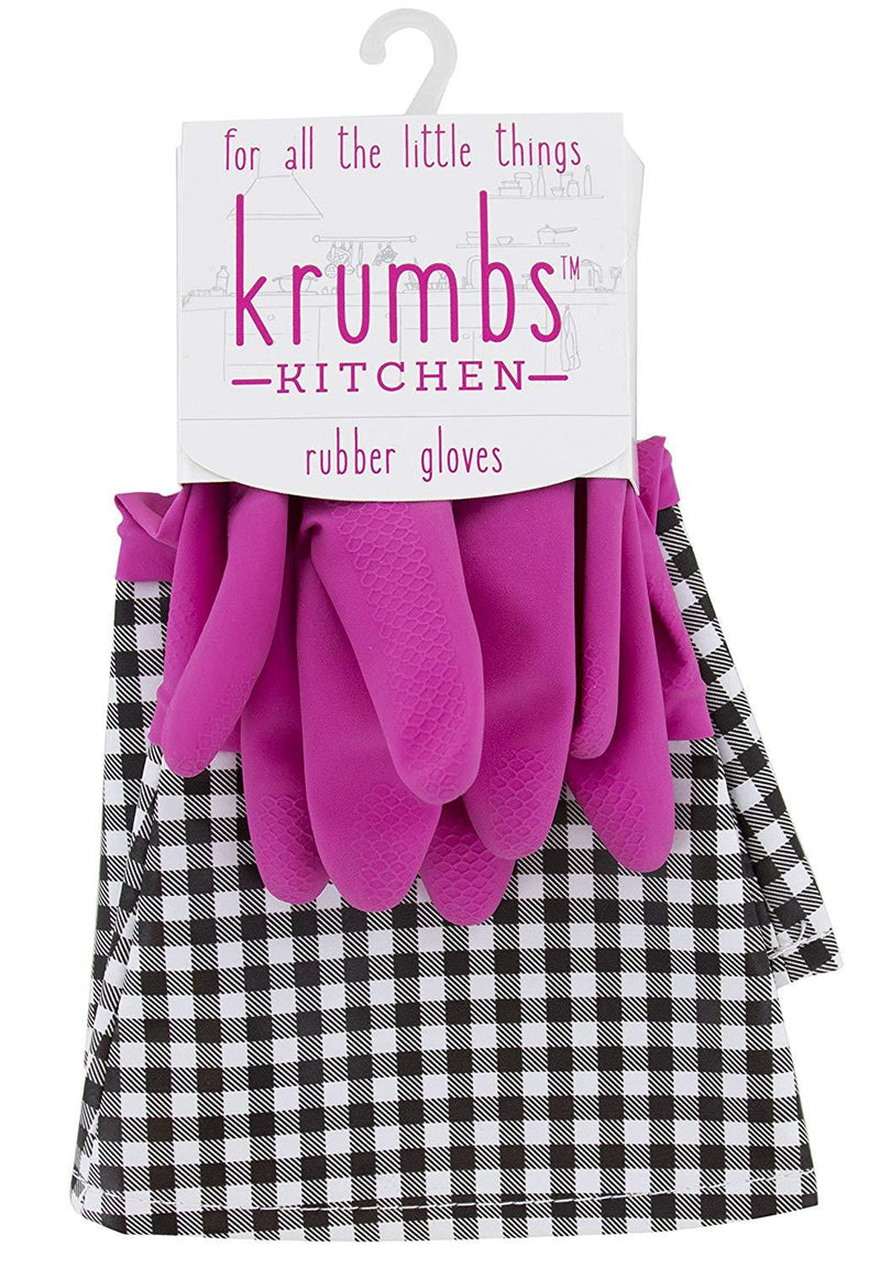 Krumbs Kitchen Rubber Gloves In Pink Gingham Rubber Gloves