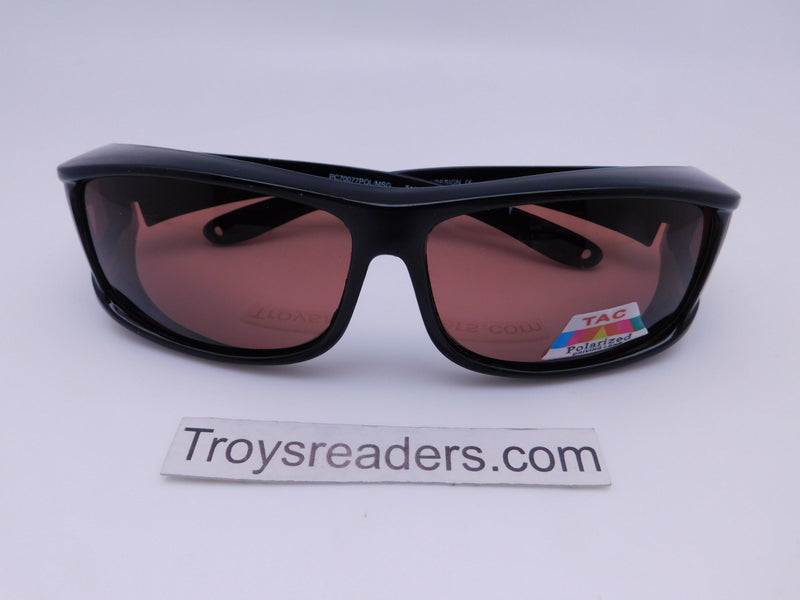 Large Polarized Amber Fit Overs Style Fit Over Sunglasses
