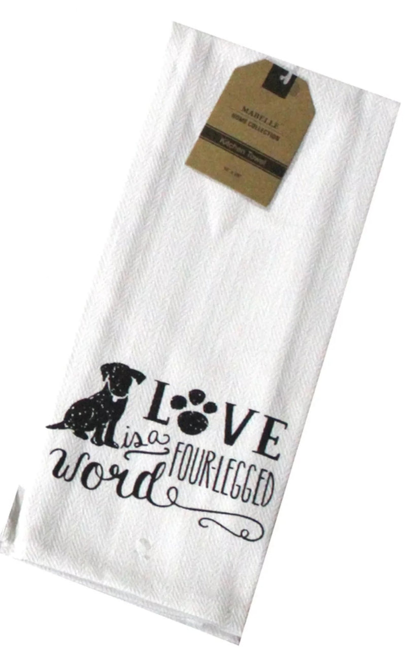 Love Is A Four-Legged Word Dish Towel Dish Towel