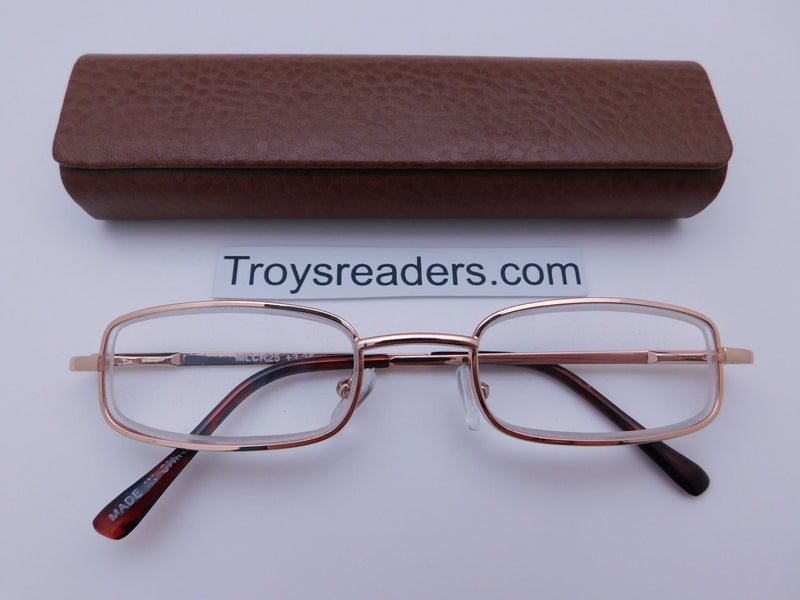 Magnetic Leather Metal Readers With Case in Four Colors Reader with Display Brown +1.00