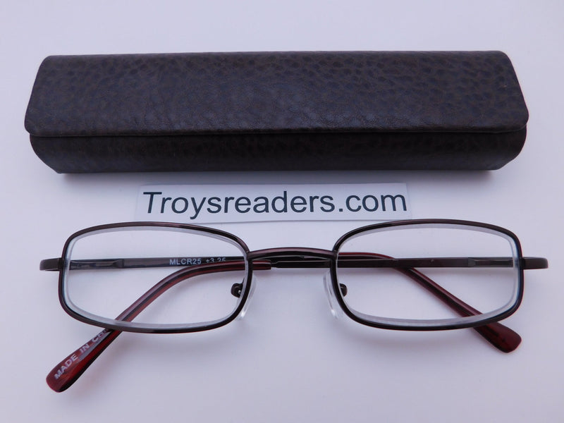 Magnetic Leather Metal Readers With Case in Four Colors Reader with Display Dark Brown +1.00