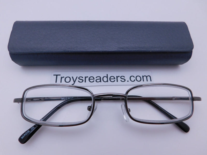 Magnetic Leather Metal Readers With Case in Four Colors Reader with Display Gray +1.00