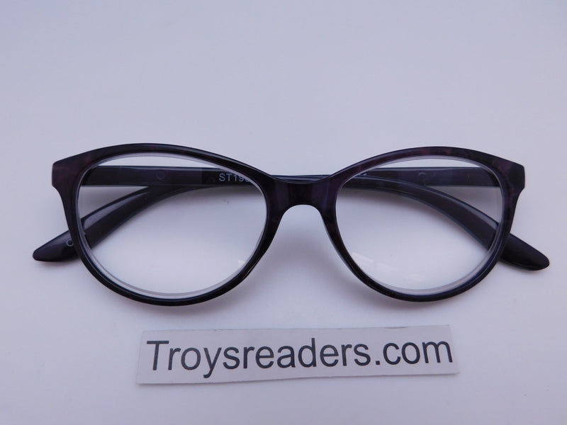 Marble Cat Eye Reading Glasses in Four Colors Reader no Case Grey/Black Marble +4.00