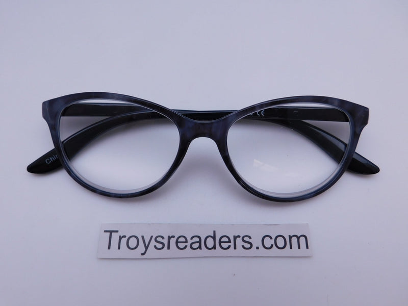 Marble Cat Eye Reading Glasses in Four Colors Reader no Case Purple Marble +4.00