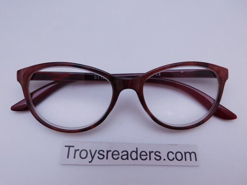 Marble Cat Eye Reading Glasses in Four Colors Reader no Case Strawberry Marble +4.00
