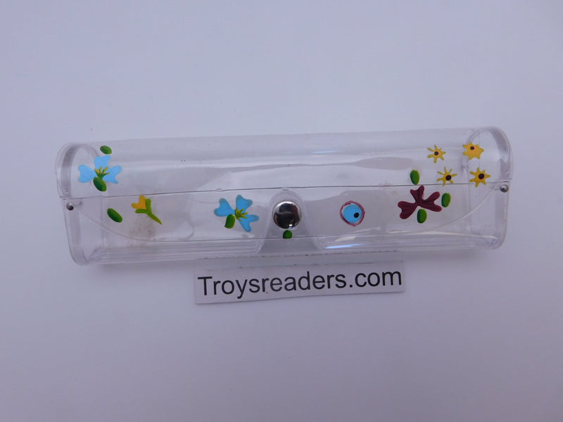 Medium Clear Plastic Case in Sixteen Colors Cases Painted Flower