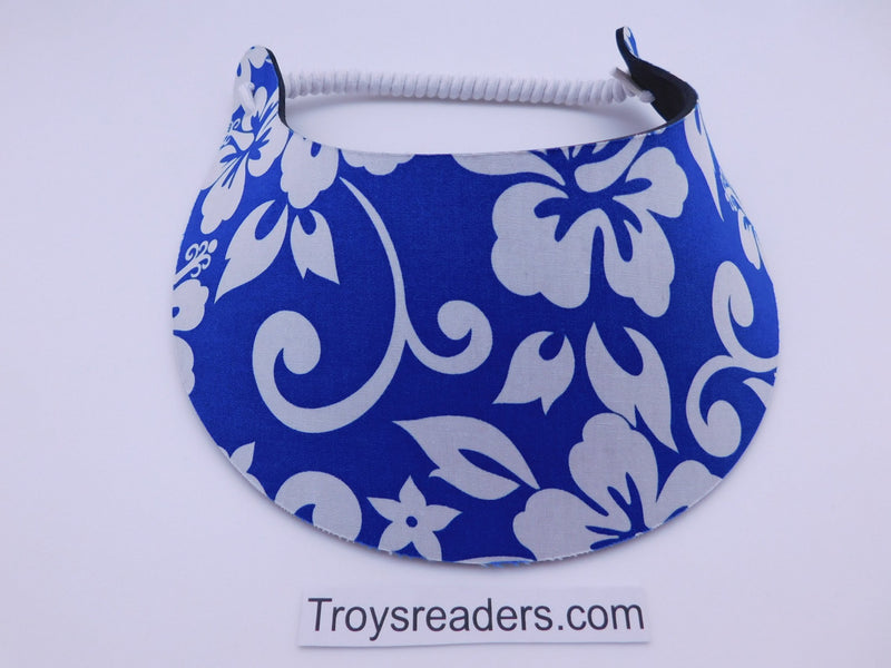 Miracle Foam Sun Visor Bright Dark Blue Hawaiian Print Foam Visors