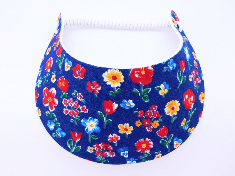 Miracle Foam Sun Visor Flowers on Navy Foam Visors