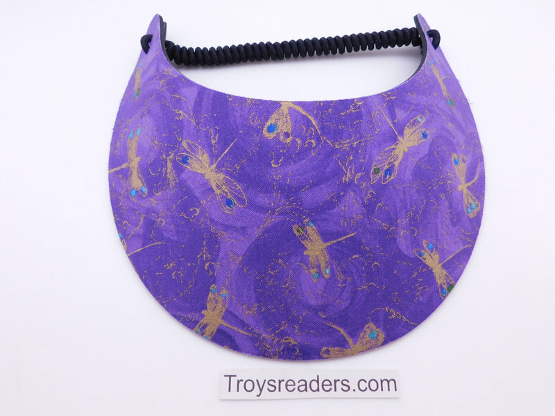 Miracle Foam Sun Visor Gold Butterflies on Purple Foam Visors Long Brim