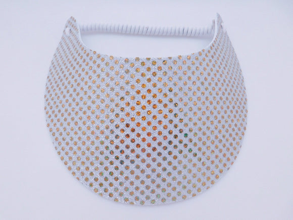 Miracle Foam Sun Visor Gold on White Glitz Print Foam Visors