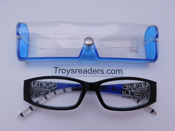Multi Design Readers With Case in Four Colors Reader with Display Blue +1.75