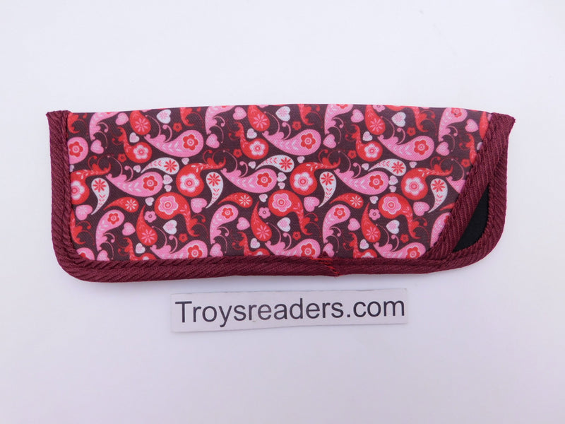 Paisley Glasses Sleeve in Five Designs Cases Red and Pink Paisley