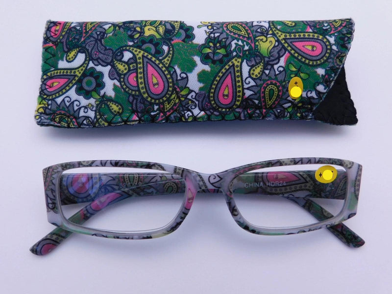 Paisley Readers With Case in Four Colors Reader with Display Green +1.25