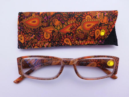 Paisley Readers With Case in Four Colors Reader with Display Orange +1.25