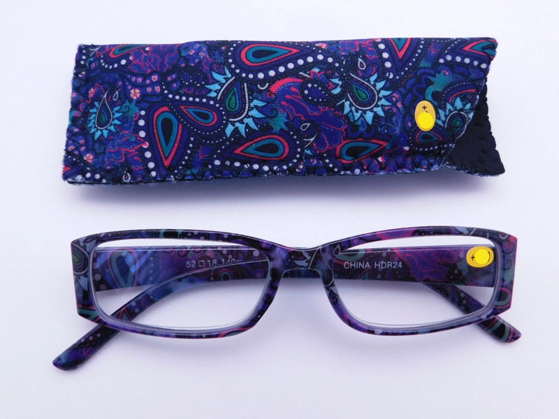 Paisley Readers With Case in Four Colors Reader with Display Purple Paisley +1.25